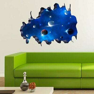 Removable 3D Living Room Bedroom PVC Wall Sticker Milky Way Space Wall Paper#A