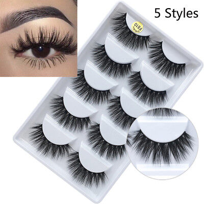 SKONHED 5Pairs*100% Real Mink 3D Volume Thick Daily False Eyelashes Strip Lashes