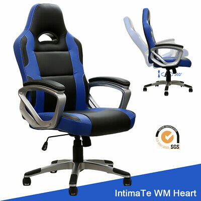Executive Office Chair Racing Gaming Computer Desk PU Leather Swivel Adjustable