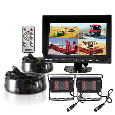 "9"" TFT LCD Quad Split Reversing Monitor + 2x 4Pin CCD Backup Cameras For Truck"