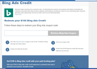 100$ BING ADS Credit Code Advertising Promo Limited limited quantity