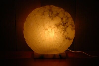 vintage marble scallop shell table lamp