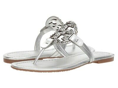 c7d11be7644 NWB  228 Tory Burch Miller Embellished Sandal Silver Metallic Leather Size  9.5