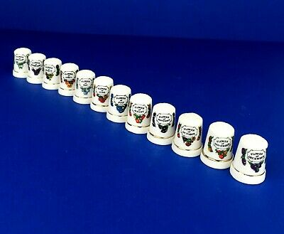 Vintage Porcelain Thimbles Flowers of the Month Full Set of 12