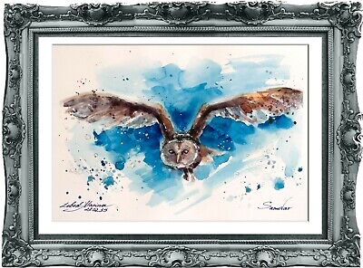 original painting owl aquarelle 128LM watercolor  signed A4