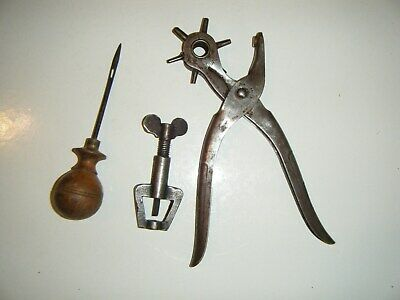 Vintage BERNARD hole punch plus two other leather working tools