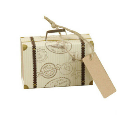 10X Paper Candy Box Vintage Suitcase Shape Cookie Gift Case Wedding Party Supply
