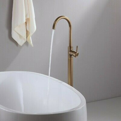 Antique Brass Floormount 1 Hole Clawfoot Tub Shower Faucet Filler Swivel Spout