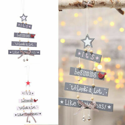 Christmas Wooden Pendant Door Decorations Xmas Tree Hanging Home Party Ornaments