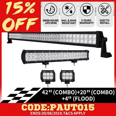42inch  CREE LED Light Bar Combo +20 inch +Pair 4inch pods 4WD OFFROAD SUV Boat