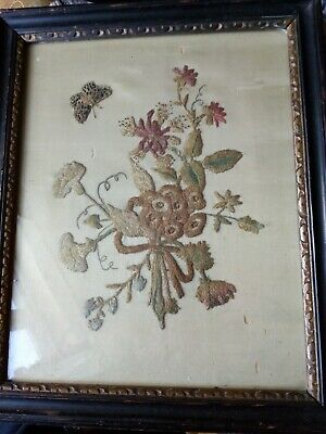 Antique Embroidery On Silk - Nature Scene