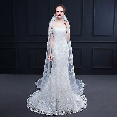 Wedding Bride Mantilla Bridal Cathedral Veil Lace Edge White Long Style Fashion