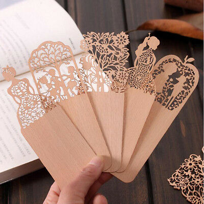 10pcs/Lot Creative Vintage Hollow Wooden Bookmark Lovely Girl Bookmarks For Book