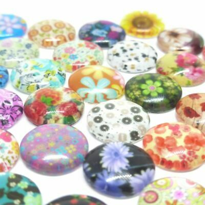 10 x Glass Floral Cabochons for Earring Studs  12mm 10 pieces in Pairs