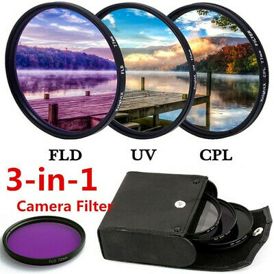 49MM-77MM UV+CPL+FLD 3 in 1 Lens Filter Set with Bag for Sony Pentax Camera Lens