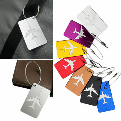 Travel Aluminium Plane Luggage Tags Suitcase Label Name Address ID Baggage Tag Q