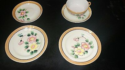 Vintage lusterware floral  mini tea cup,saucers and  2 plates Made in Japan