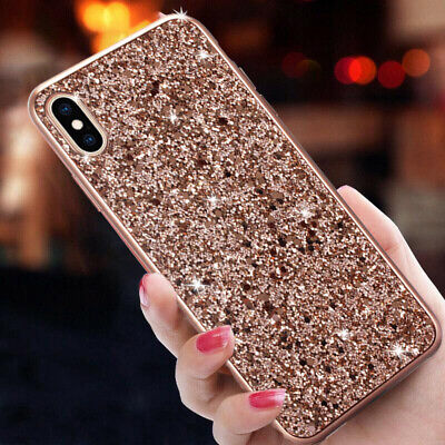 For iPhone Xs Max Xr Xs X Case Sparkle Glitter Hybrid Rubber Shockproof Cover