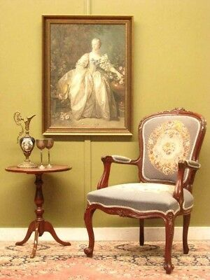 Beautiful French Style Carved Mahogany Armchair / Chair ~ Hand Worked Tapestry