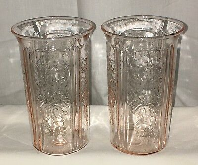 "2 Macbeth Evans AMERICAN SWEETHEART PINK* 4 3/4""- 10 oz ICED TEA TUMBLERS*"