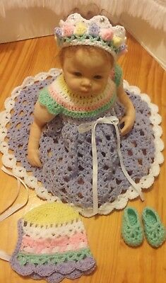 "New Hand Made Crochet Reborn Doll Dress Set Pastel Colour's  Fit's 19""- 23"" Doll"