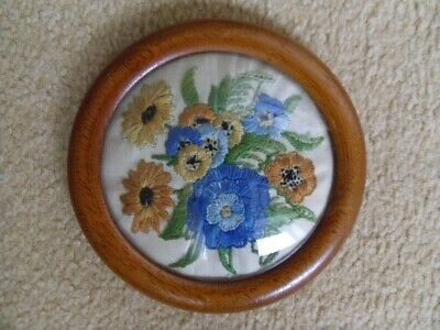 Vintage Embroidered Framed Picture. Round.