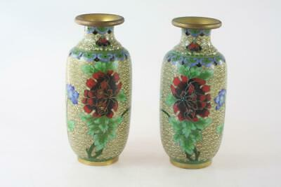 Vintage Chinese Pair Cloisonne Enameled Small Yellow Vase