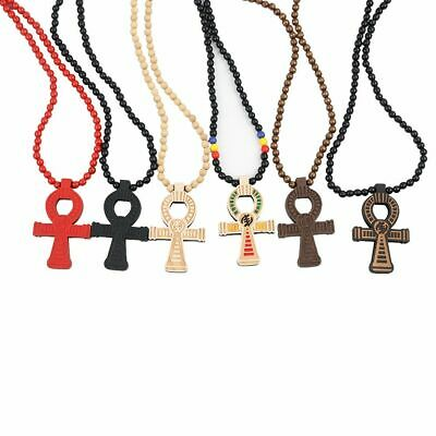 Charm Power of Life Good Wooden Bead Chain Cross Pendant Necklace Hip Hop