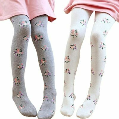 Kids Stockings Girls Floral Elastic Cotton Pantyhose Tights Baby Toddler Knitted