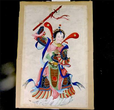 N842 Antique Chinese Pith Rice Paper Watercolour Painting