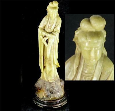 Vintage Chinese Carved Soapstone Figurine Of Goddess Guanyin Kwanyin