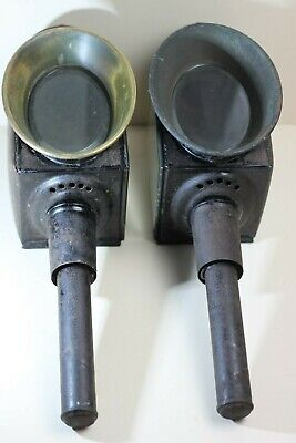 Pair of Brass and Japanned Tin Coach Lamps