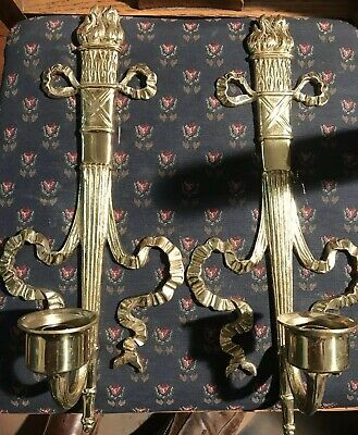 PAIR french Empire Style Brass metal sconces Candle Roman Torch Furniture Parts