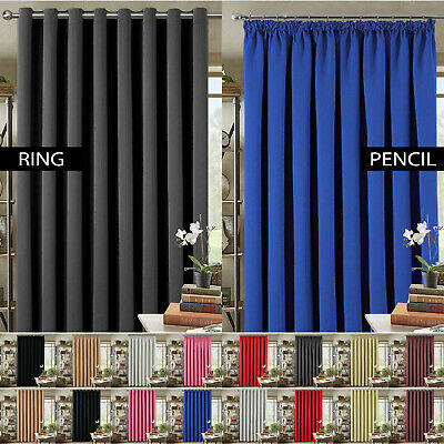 Thermal Blackout Pair Curtains Ready Made Eyelet Ring Top Or Pencil Pleat + Ties