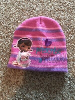 7ac8e7b4ebe8f Girls Toddler Disney Junior Doc McStuffins Pink Purple Winter Beanie Hat -Cute!
