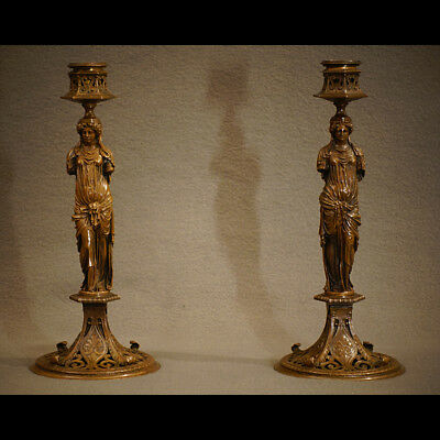 PAIRE FLAMBEAUX À L'ANTIQUE MILIEU XIXè - PAIR TORCHES ANTIQUE STYLE MIDDLE XIX