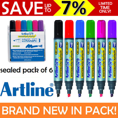 NEW IN PACK 6x ASSORTED Artline 579 Whiteboard Markers 2-5mm Chisel Tip Colours