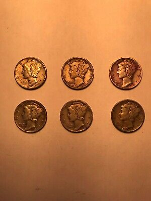 US Coins Mercury Dimes Lot of 6 - 90% Silver 1939 & 1940