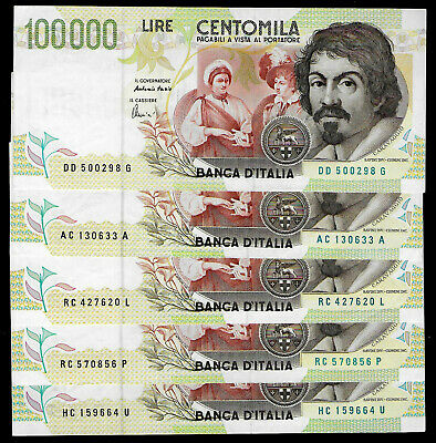 N 5 Banconote 100000 Lire Caravaggio Ii Tip0 Lettera  C-D  Fds/qfds