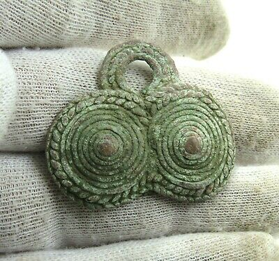Authentic Medieval Viking Era Bronze Coiled Pendant - J676
