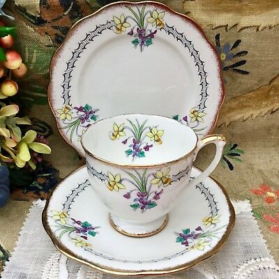 QUEEN ANNE 1950s TRIO CUP SAUCER PLATE SET - NARCISSUS & VIOLETS FINE BONE CHINA