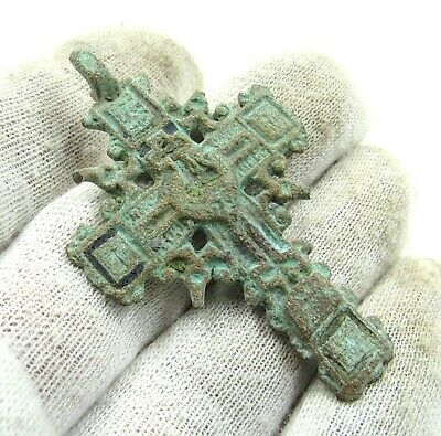 Authentic Late Medieval Era Bronze Radiate Cross Pendant  - J681