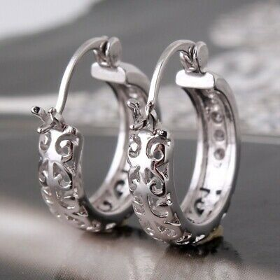 Fashion 925 Silver White Topaz Silver Ear Stud Hoop Earrings  Women Jewelry