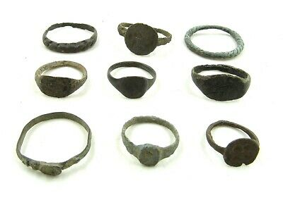 Authentic Lot Of 9 Roman / Medieval Bronze Rings For Cleaning - Wearable - J698