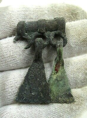 AUTHENTIC MEDIEVAL VIKING ERA BRONZE PENDANT W/ DRAGON FOOT TASSELS - j703