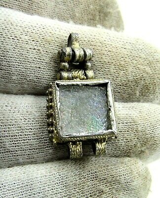 Authentic Late Medieval Tudor Era Silver Pendant W/ Stone - J716
