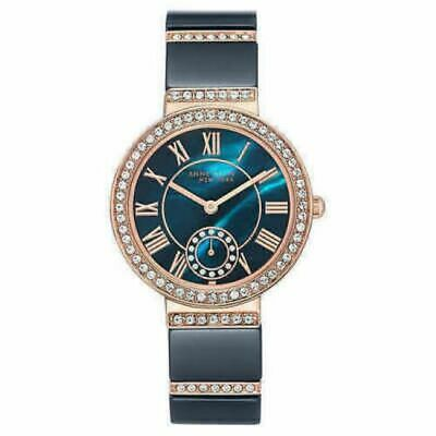 Anne Klein 12/2300NVRG Womens 33mm Rose Gold Tone/Navy Crystal Accent #B34 (1368