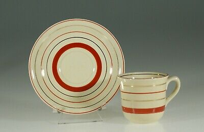 Clarice Cliff Newport Pottery Red and Black Band Demitasse Cup & Saucer, England