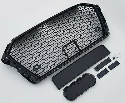 Gloss black honeycomb mesh car grill for Audi A3 8V 2016-2019 S3 RS3 with PDC