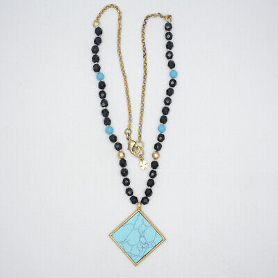 lucky brand jewelry antique gold tone turquoise square pendant necklace chain
